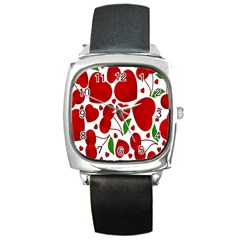 Cherry Fruit Red Love Heart Valentine Green Square Metal Watch