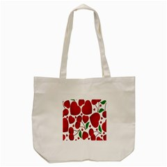Cherry Fruit Red Love Heart Valentine Green Tote Bag (Cream)