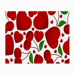 Cherry Fruit Red Love Heart Valentine Green Small Glasses Cloth