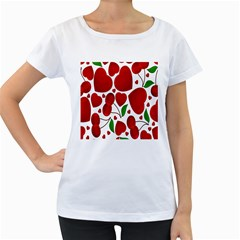 Cherry Fruit Red Love Heart Valentine Green Women s Loose-Fit T-Shirt (White)