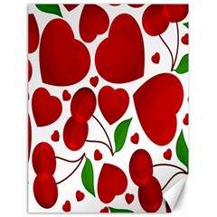 Cherry Fruit Red Love Heart Valentine Green Canvas 18  x 24