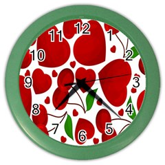 Cherry Fruit Red Love Heart Valentine Green Color Wall Clocks