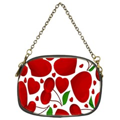 Cherry Fruit Red Love Heart Valentine Green Chain Purses (Two Sides)