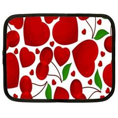 Cherry Fruit Red Love Heart Valentine Green Netbook Case (XXL)