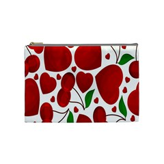 Cherry Fruit Red Love Heart Valentine Green Cosmetic Bag (Medium)