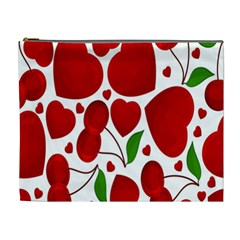 Cherry Fruit Red Love Heart Valentine Green Cosmetic Bag (XL)