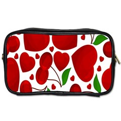 Cherry Fruit Red Love Heart Valentine Green Toiletries Bags 2-Side