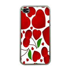 Cherry Fruit Red Love Heart Valentine Green Apple iPhone 4 Case (Clear)