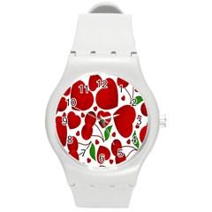 Cherry Fruit Red Love Heart Valentine Green Round Plastic Sport Watch (M)