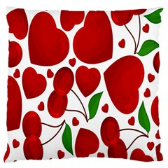 Cherry Fruit Red Love Heart Valentine Green Large Cushion Case (Two Sides)