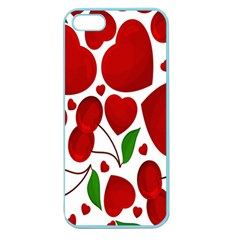 Cherry Fruit Red Love Heart Valentine Green Apple Seamless iPhone 5 Case (Color)