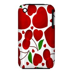 Cherry Fruit Red Love Heart Valentine Green Iphone 3s/3gs