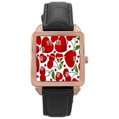 Cherry Fruit Red Love Heart Valentine Green Rose Gold Leather Watch