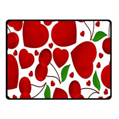Cherry Fruit Red Love Heart Valentine Green Double Sided Fleece Blanket (Small)