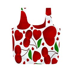 Cherry Fruit Red Love Heart Valentine Green Full Print Recycle Bags (M)