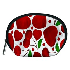 Cherry Fruit Red Love Heart Valentine Green Accessory Pouches (Medium)