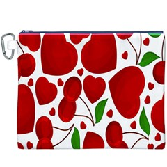 Cherry Fruit Red Love Heart Valentine Green Canvas Cosmetic Bag (XXXL)