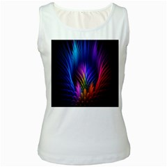 Bird Feathers Rainbow Color Pink Purple Blue Orange Gold Women s White Tank Top
