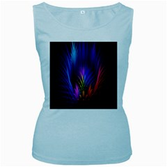 Bird Feathers Rainbow Color Pink Purple Blue Orange Gold Women s Baby Blue Tank Top