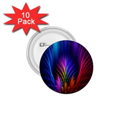 Bird Feathers Rainbow Color Pink Purple Blue Orange Gold 1.75  Buttons (10 pack)