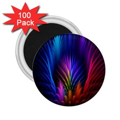 Bird Feathers Rainbow Color Pink Purple Blue Orange Gold 2.25  Magnets (100 pack)