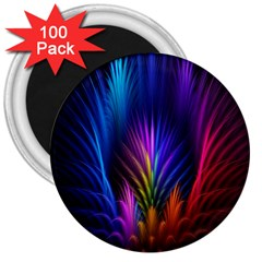 Bird Feathers Rainbow Color Pink Purple Blue Orange Gold 3  Magnets (100 pack)