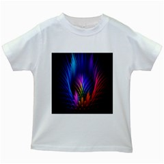 Bird Feathers Rainbow Color Pink Purple Blue Orange Gold Kids White T Shirts