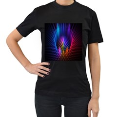 Bird Feathers Rainbow Color Pink Purple Blue Orange Gold Women s T-Shirt (Black) (Two Sided)