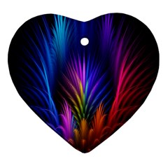 Bird Feathers Rainbow Color Pink Purple Blue Orange Gold Heart Ornament (Two Sides)