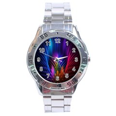 Bird Feathers Rainbow Color Pink Purple Blue Orange Gold Stainless Steel Analogue Watch