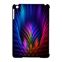 Bird Feathers Rainbow Color Pink Purple Blue Orange Gold Apple iPad Mini Hardshell Case (Compatible with Smart Cover)