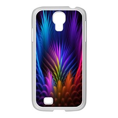 Bird Feathers Rainbow Color Pink Purple Blue Orange Gold Samsung Galaxy S4 I9500/ I9505 Case (white)