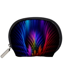 Bird Feathers Rainbow Color Pink Purple Blue Orange Gold Accessory Pouches (Small)