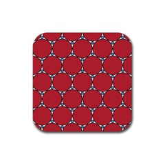 Circle Red Purple Rubber Square Coaster (4 pack)