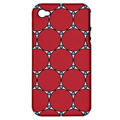 Circle Red Purple Apple iPhone 4/4S Hardshell Case (PC+Silicone)
