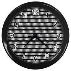Black White Line Fabric Wall Clocks (Black)