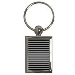 Black White Line Fabric Key Chains (Rectangle)