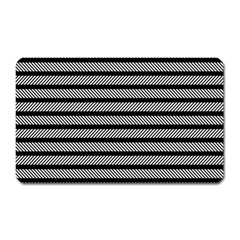 Black White Line Fabric Magnet (rectangular)