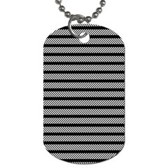 Black White Line Fabric Dog Tag (Two Sides)