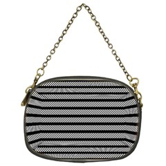Black White Line Fabric Chain Purses (One Side)