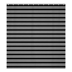 Black White Line Fabric Shower Curtain 66  x 72  (Large)