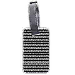 Black White Line Fabric Luggage Tags (One Side)
