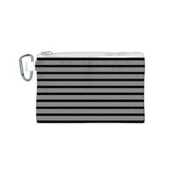 Black White Line Fabric Canvas Cosmetic Bag (S)