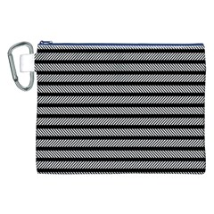 Black White Line Fabric Canvas Cosmetic Bag (XXL)