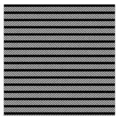 Black White Line Fabric Large Satin Scarf (Square)