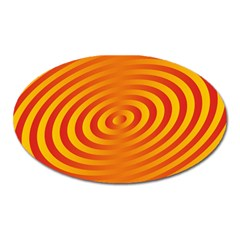 Circle Line Orange Hole Hypnotism Oval Magnet