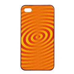 Circle Line Orange Hole Hypnotism Apple iPhone 4/4s Seamless Case (Black)