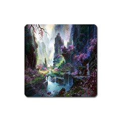 Fantastic World Fantasy Painting Square Magnet