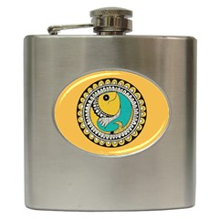 Madhubani Fish Indian Ethnic Pattern Hip Flask (6 oz)