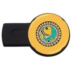 Madhubani Fish Indian Ethnic Pattern USB Flash Drive Round (1 GB)
